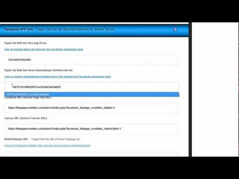 3. App Info Fanpage Director -- App Id & Secret Key einfügen -- Facebook und Canvas Url einfügen