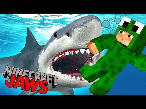Minecraft -  JAWS  - SURVIVE THE SHARK ATTACK!?  - Custom Mod Adventure