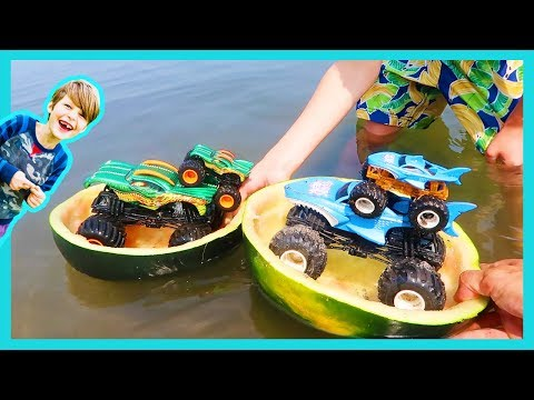 Monster Trucks in Watermelon Boats⛵