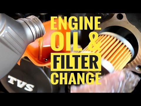 TVS APACHE RTR 200 ENGINE OIL & OIL FILTER CHANGE   SHELL ADVANCE ULTRA 10w40