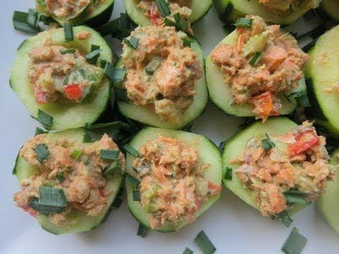 Summer Salmon Salad Cucumber Cups