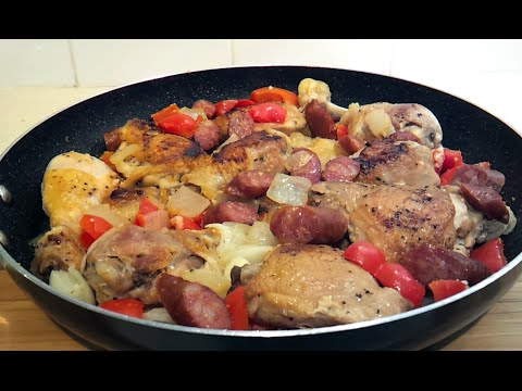 Pan Roasted Chicken With Sausage, Peppers and Onions (Low Carb)