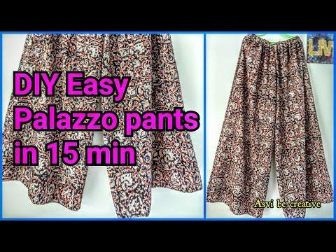 How To|DIY Easy Palazzo Pants in 15 min|Beginner|Split Skirt|Asvi