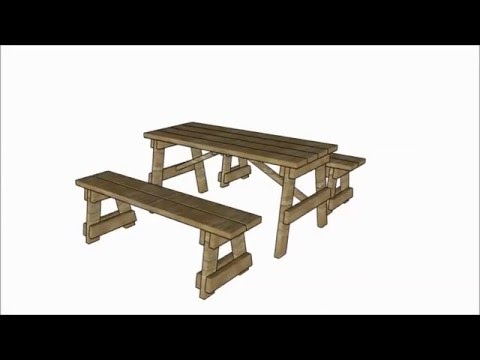 Picnic table with separate benches plans