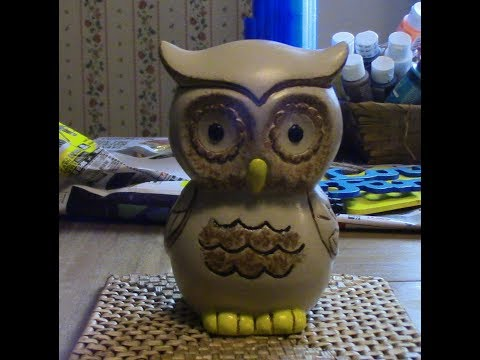 How to paint ceramic owl piggy bank Christmas gift