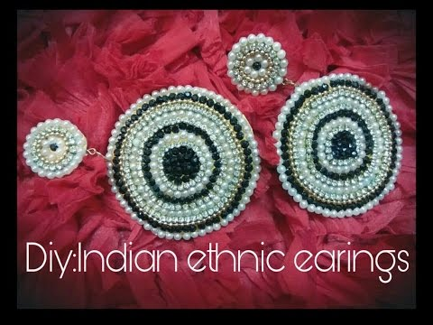 Diy ethnic earings partywear/how to make party wear earings at home with paper and cardboard easy !!