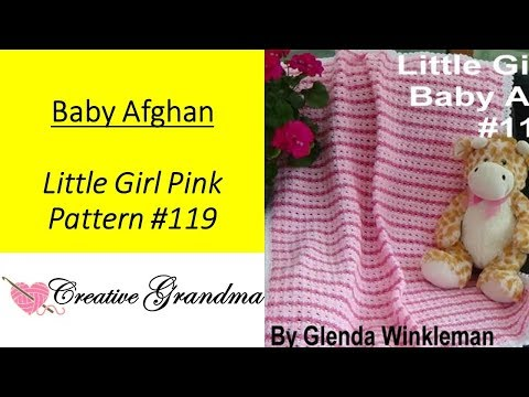 How To Crochet - Little Girl Pink Baby Afghan (EASY) Free Pattern / Tutorial