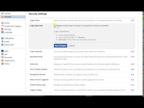 Facebook security settings login approvals.