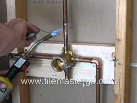 Shower Valve replacement - brass rough in installation, copper soldering How to DIY - DELTA Part