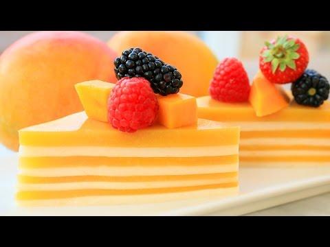 Homemade Mango Coconut Jelly | Agar Agar Cake | Party Food Ideas