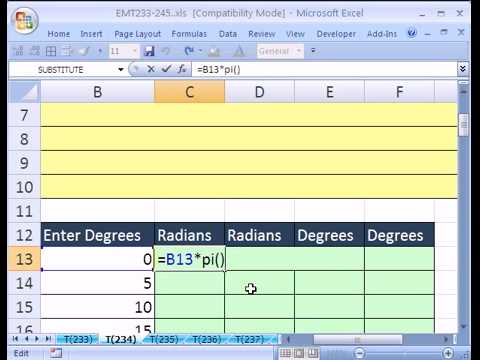 Excel  Trig functions PI RADIANS DEGREES 360p