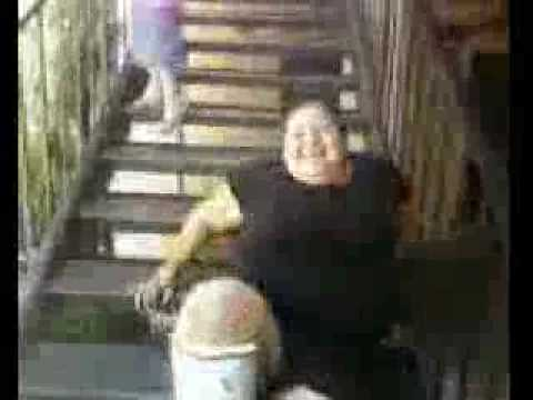 Carla going up stairs with broken legs