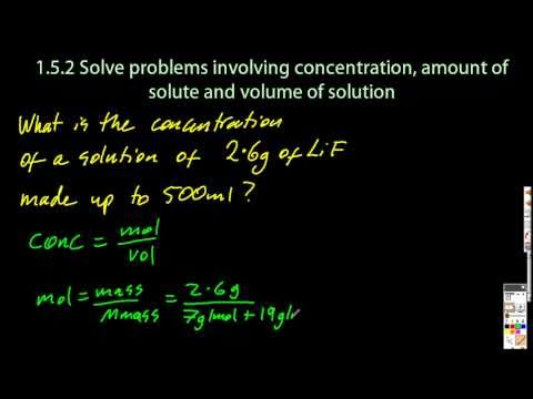 1.3 Solve Problems Using Concentration, Amount of Solute and Volume [SL IB Chemistry]