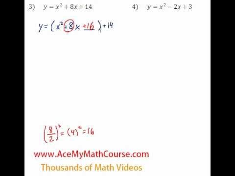 Quadratics - Finding the Vertex Questions #3