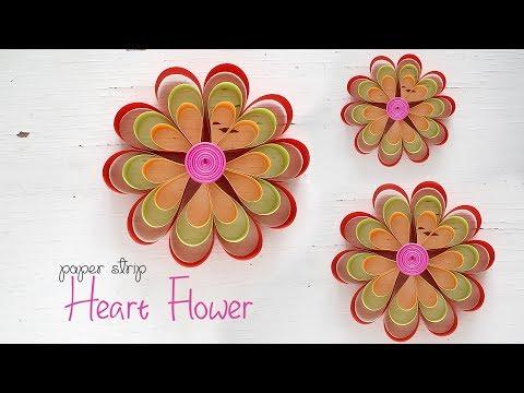 Paper Strip Heart Flowers!