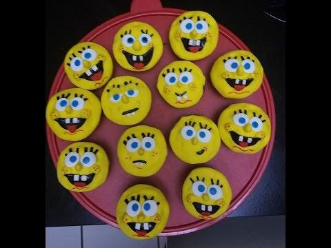 Spongebob Cupcakes toppers using fondant