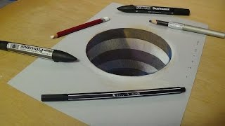 Drawing 3D Hole for Kids - How to Draw 3D Circular Hole - Trick Art for Kids