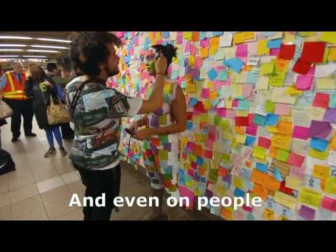 Subway Therapy: Wall of 1,000s of Post-it Notes pops up in NYC after Trump's election