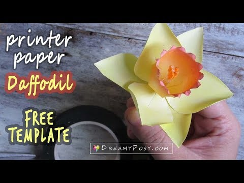 DIY Daffodil flower from printer paper, FREE template, SO SIMPLE