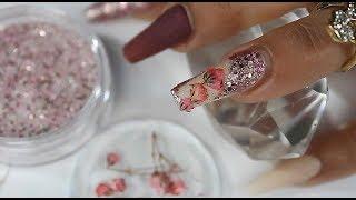 Uñas Acrílicas Bañadas En Glitter Sumamente Brillosas