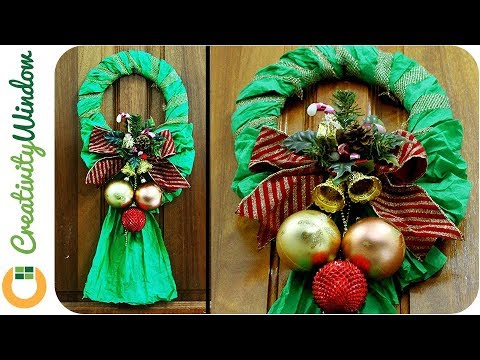 Easy Crepe Paper  Christmas Wreath
