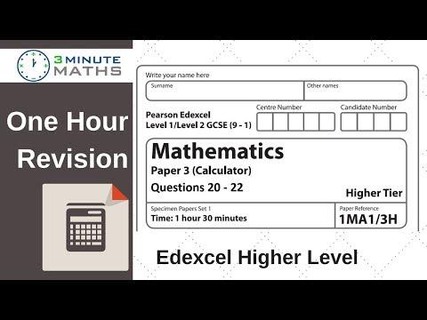 Edexcel Higher GCSE Maths - Questions 20 - 22 Revision