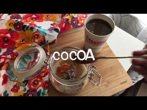 Pumpkin Chocolate Overnight Oats with Dunkin Donuts Coffee