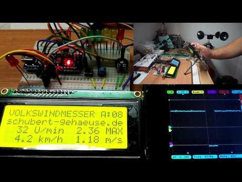 Volkswindmesser mit Arduino Nano - Anemometer wind speed meter