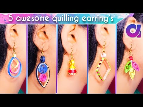 5 easy and awesome quilling earrings for girls | DIY | Artkala 193
