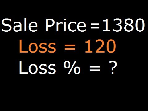 Loss percentage | Salling price question| find loss percent if man losses 120 on selling at 1380