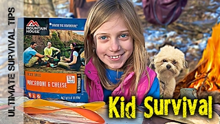 CUTE! Kid Survival - Lilly and Her Dad - Bushcraft Camp for Beginners - V1