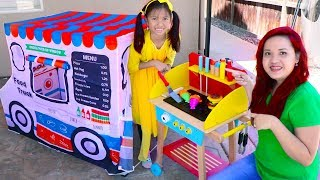 Wendy Pretend Play Cooking with Food Truck Tent & Wooden BBQ Grill Toys