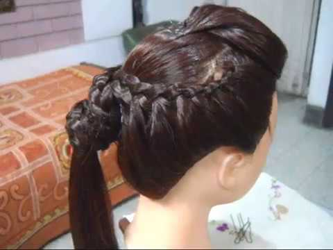 Front Puff with side Braid Plates with a Horse tail.