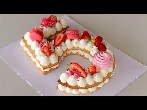 Number Cake | Alphabet Cake | How to Make Cream Tart