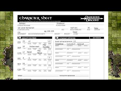Dungeons and Dragons 3.5 Revised Character Sheet Runthrough