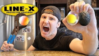 CAN LINE-X STOP A 1000 DEGREE METAL BALL? (LINE-X EXPERIMENT) As Seen On TV Test!