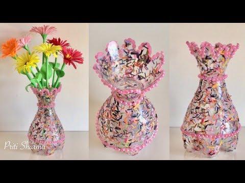 Best Out Of Waste Plastic Bottle Flower Vase / DIY / Plastic Bottle Craft Idea   Priti Sharma