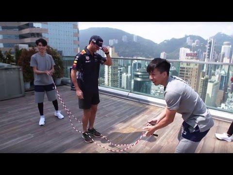 Daniel Ricciardo skips along in Hong Kong