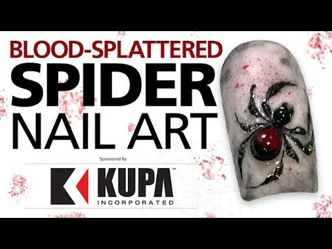 Black Widow 3-D Spider Nails for Halloween With Artfinity TripTych Colored Acrylic Powders