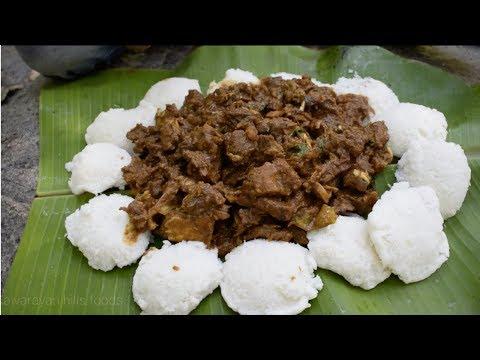 How to Prepare Mutton Gravy with idli | Small boy cooking mutton gravy with idli | மட்டன் குழம்பு