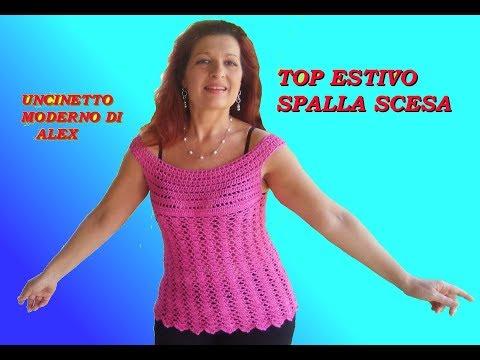 TOP SCOLLATURA A BARCHETTA  UNCINETTO tutorial tutte le taglie FACILE
