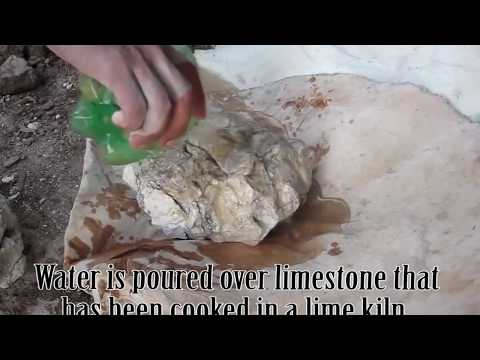 Making Quicklime from a Traditional Lime Kiln - Cooked limestone + Water = Quicklime