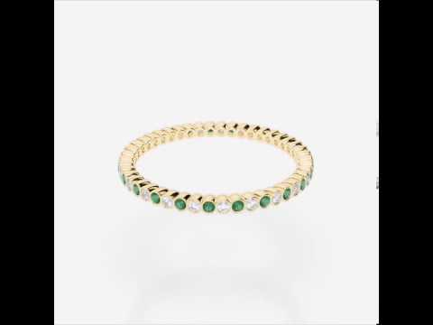Yellow Gold Emerald Diamond Eternity Ring   YGold Emerald Eternity Ring 1097