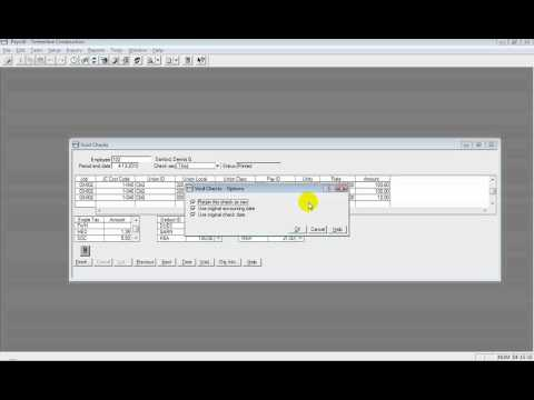 Sage Timberline Accounting: Video 27 Void Payroll Check