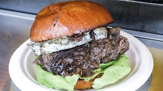 French Beef Bourguignon Burger and Great Cheeses. Street Food of London