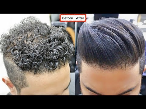 CURLY TO STRAIGHT Hair TUTORIAL. All About keratin 2017 [ A SMOOTH NATURAL HAIR FOR MEN ]✔️