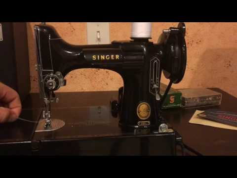 How to Thread Singer Featherweight 221 Sewing Machine Bobbin Case and Upper Tension and Wind Bobbin