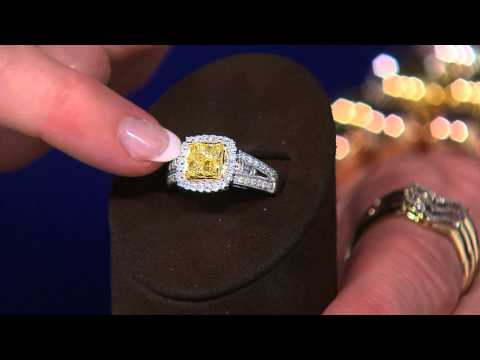 Cushion Cut Canary Yellow Diamond Ring, 14K, 1 cttw by Affinity