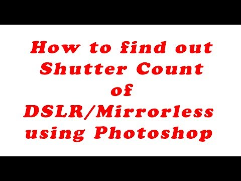 How to accurately find out Shutter Count of a DSLR / Mirrorless using Photoshop .