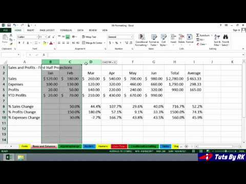 Tuts By RK: Excel 2013 Simply Adjust row and columns width-5 (Beginners)